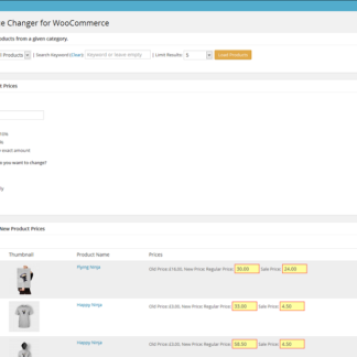 change product prices (up/down) for all products or for a selected category and its subcategories