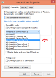 Enable XP Compatibility Mode on Fake Sendmail