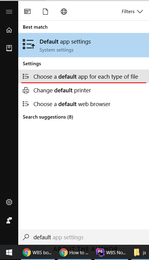 Choose default program for each type in Windows 10