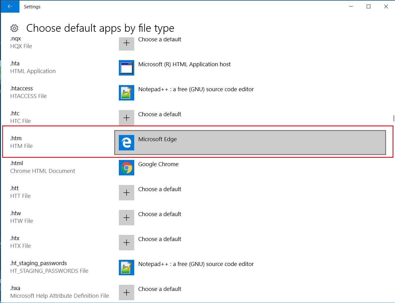 Choose default program for htm ext in Windows 10