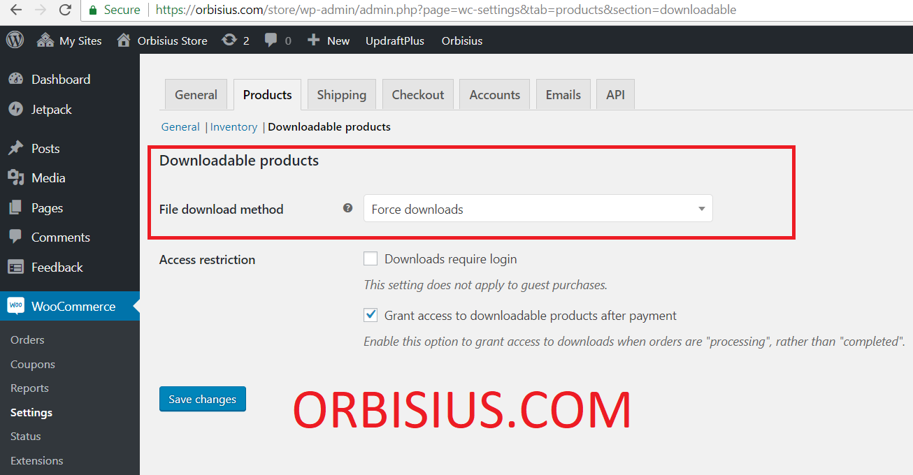 woocommerce settings downloadable products file download method