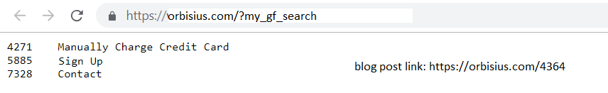 gravityforms php search result