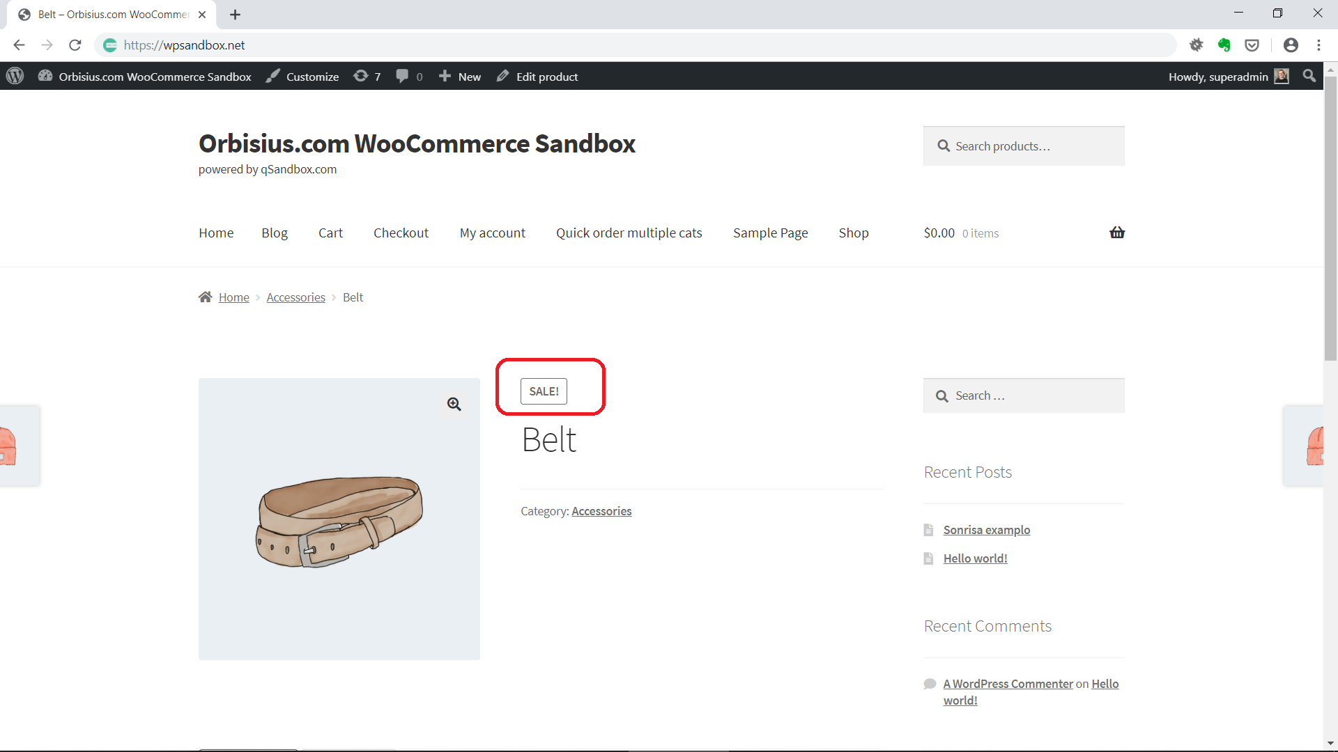 On Sale Badge on WooCommerce Product Page